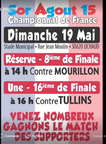 Sor Agout XV Match 19 mai 2019