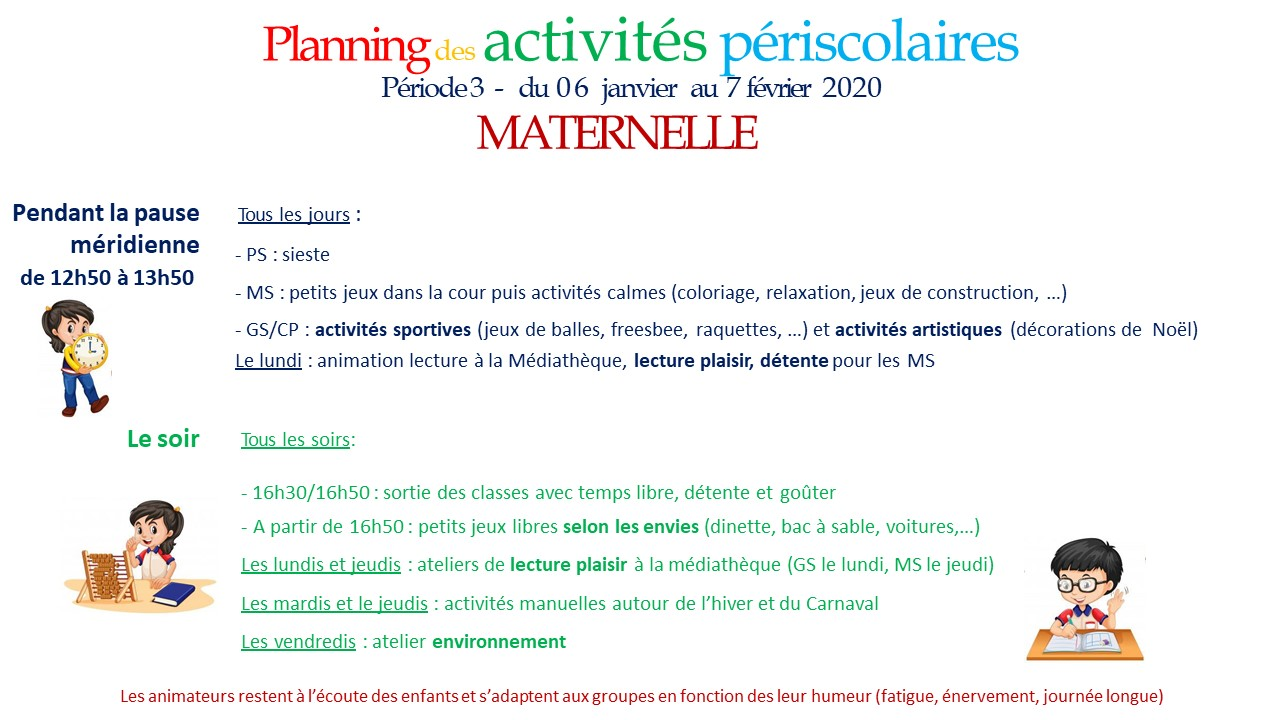 Periode 3 ateliers maternelle