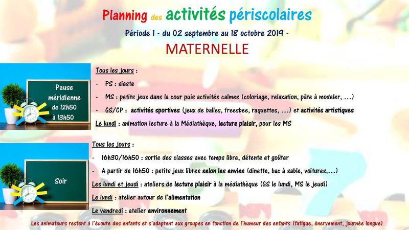 Planning activités périscolaires 1