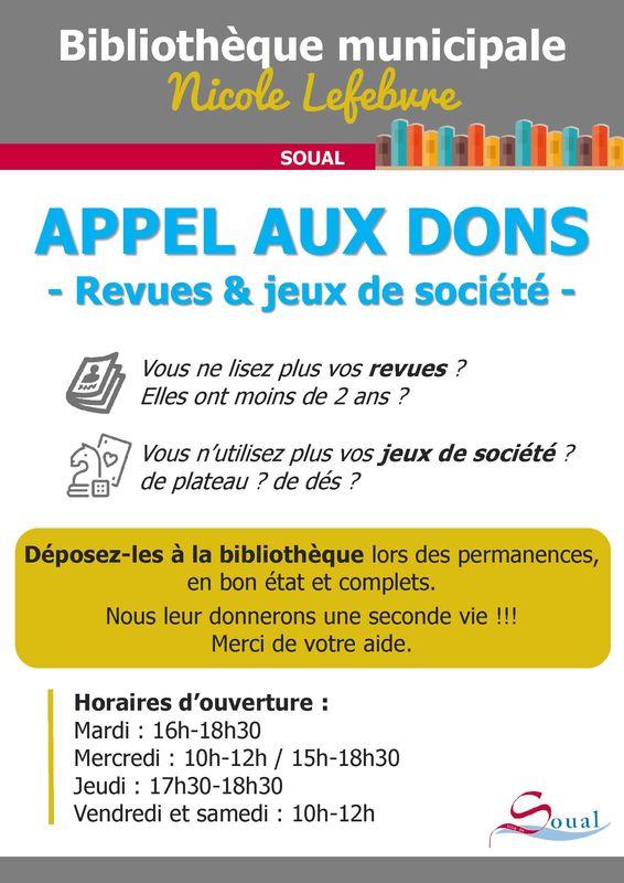 Biblio Appel aux dons
