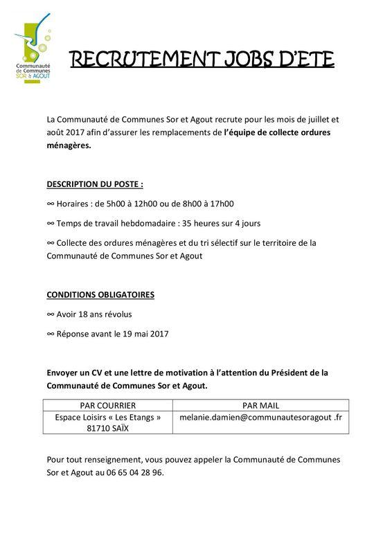 Emploi d'été   Mairie de Soual