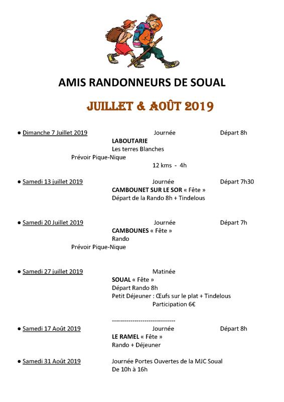 Programme Rando Juillet/Août 2019