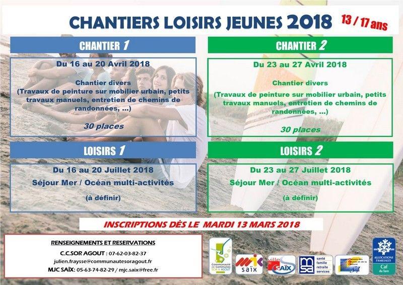 Programme Chantier jeunes Avril 2018