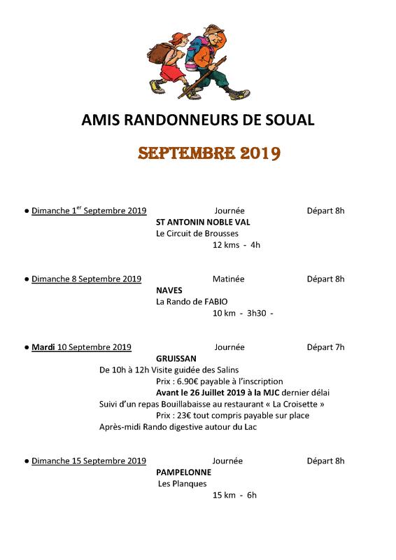 Programme rando septembre 2019