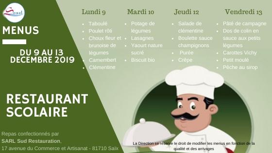 menu 9-13 décembre